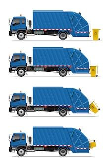 Camión de basura con bote de basura