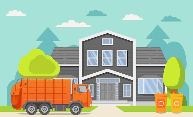 Camión de basura camión cargador sanitario urbano. servicio de ciudad. fachada de la vista frontal de la casa. edificio de la casa adosada reciclaje de botes de basura. tarifa de recolección de basura separada.
