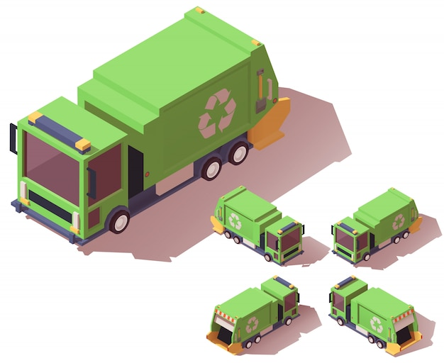 Camión de basura isométrica