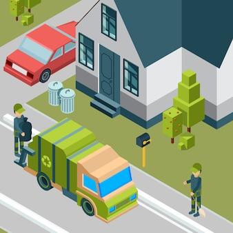 Camión de la basura. servicio de limpieza eliminando la basura de la calle de la ciudad de reciclaje de residuos isométrica