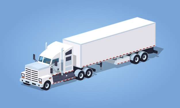Camión blanco isométrico pesado 3d con el remolque.