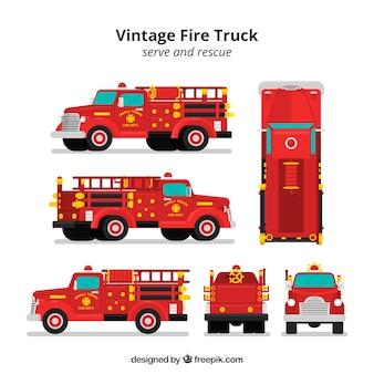 Camión de bomberos en diferentes vistas