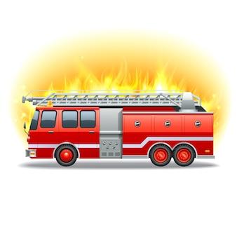 Camión de bomberos rojo con escalera de rescate y fuego en el fondo