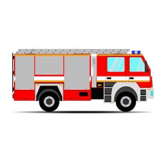 Camión de bomberos sobre fondo blanco.