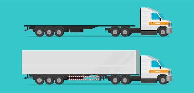 Camión de carga de carga plana de dibujos animados industria aislada transporte de camiones comerciales largos grandes