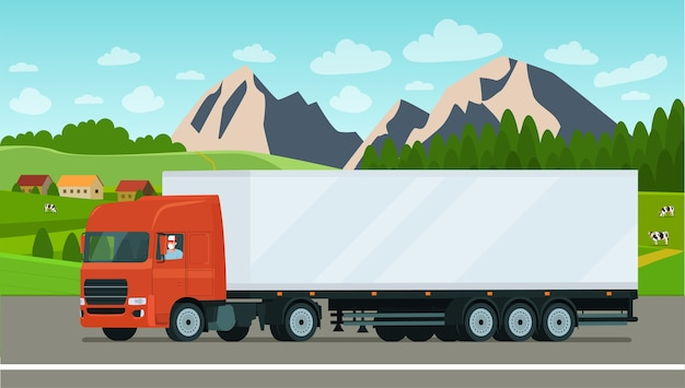 Camión de carga con un conductor enmascarado sobre un fondo de paisaje.
