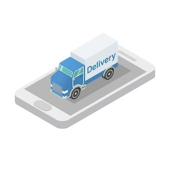 Camión de carga isométrica aplicación de teléfono inteligente.