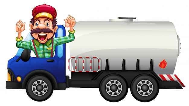 Un camión cisterna y un conductor