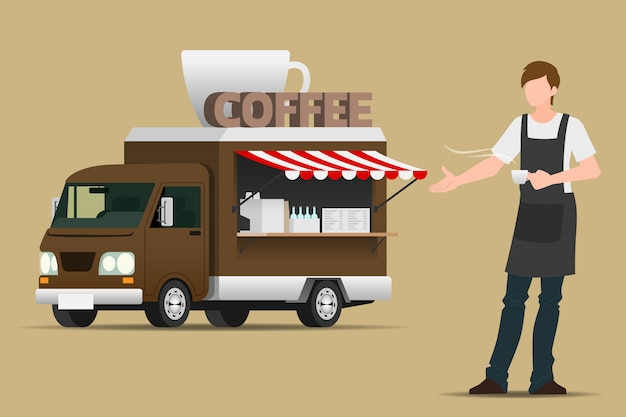 Camión de comida café.