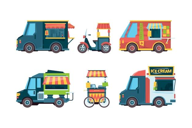 Camión de comida. carretilla de mano recogiendo transporte vendedores ambulantes festival de comida rápida colección imágenes planas. calle de camiones de comida, carrito rápido con ilustración de bocadillos