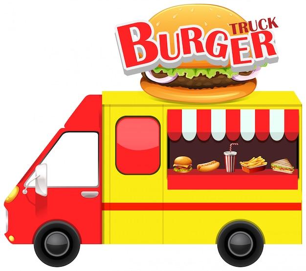 Camion de comida con hamburguesa y otra comida rapida.