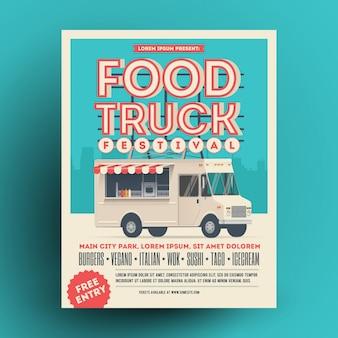 Camión de comida o cartel de festival de comida callejera o plantilla de diseño de volante.
