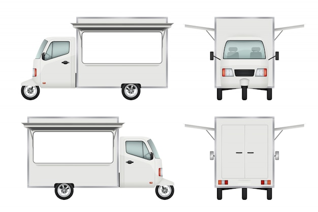 Camión de comida realista. entrega de comida rápida moto transporte ventana abierta camión servicio de catering 3d s