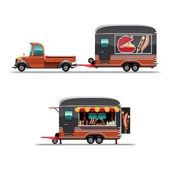 Camión de comida de remolque en la vista lateral con parrilla de mostrador, hotdoc modelo grande en la parte superior del automóvil, ilustración