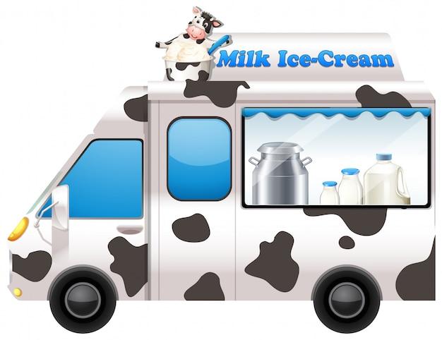 Camion de comida vendiendo helado de leche.