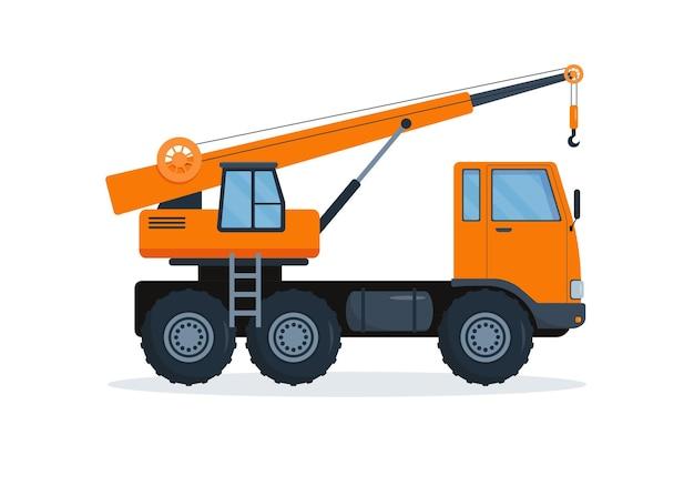 Camión grúa. máquina de industria pesada. equipos de construcción.