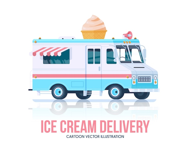 Camion de helados. helado vagon. servicio de entrega. ilustración.