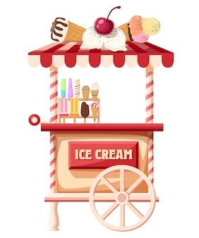 Camión de helados, llevando una mano que lleva un helado página de sitio web de ilustración estilizada y aplicación móvil.