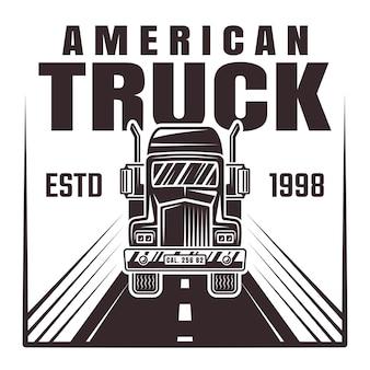 Camión en la ilustración de la carretera en estilo monocromo