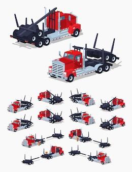 Camión isométrico de registro en 3d lowpoly lowpoly