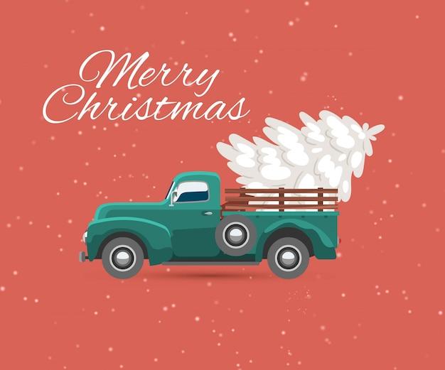 Camión lleva tarjeta vintage de árbol de navidad y nieve