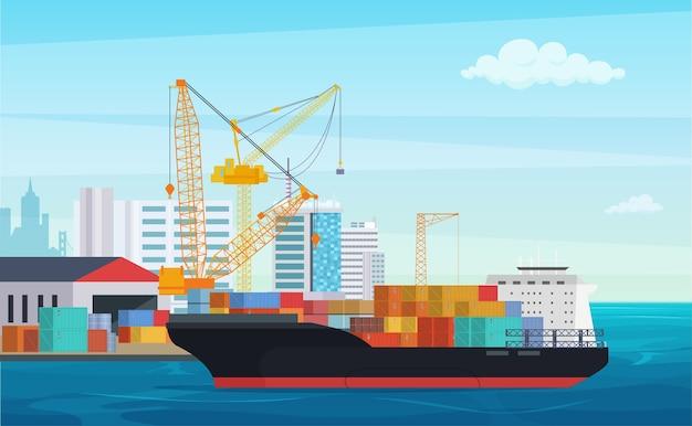 Camión logístico y buque portacontenedores de transporte. puerto de carga con grúas industriales. patio de envío