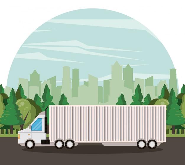 Camión logístico entrega de mercancía caricatura.