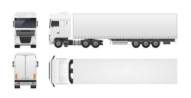Camión moderno o camión aislado en blanco