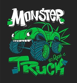 Camión monstruo. ilustración para estampados de camisetas.