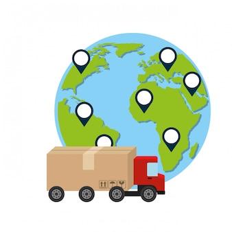 Camión y mundo, entrega e ilustración logística.