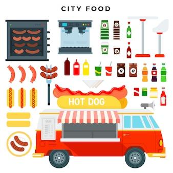 Camión de perritos calientes. mini furgoneta de comida rápida y un conjunto de varios alimentos y bebidas de la calle.