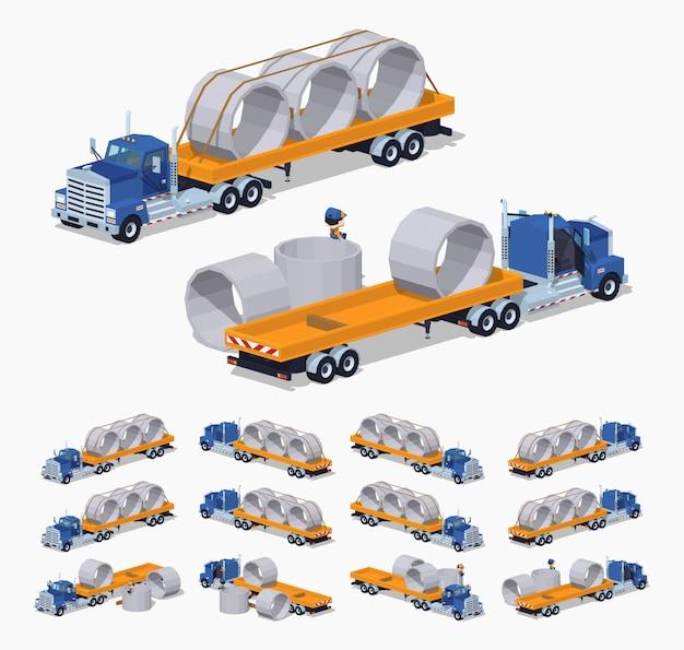 Camión pesado isométrico 3d lowpoly y remolque con anillos de concreto