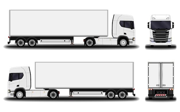 Camión realista vista frontal; vista lateral; vista trasera.