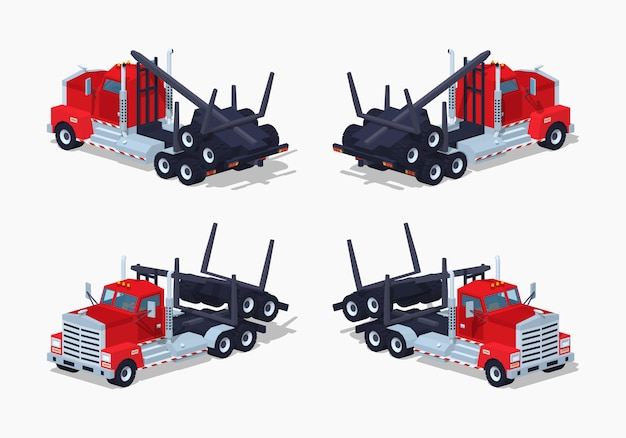 Camión de registro isométrico 3d lowpoly plegado