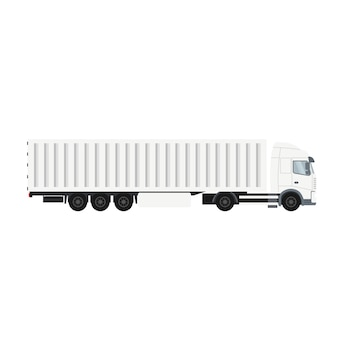 Camión remolque contenedor con cámara frigorífica para exportación.