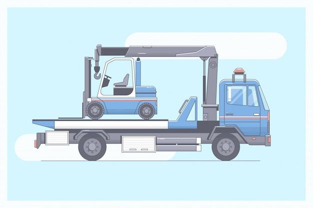 Camión de remolque, evacuador que entrega el vehículo de pasajeros