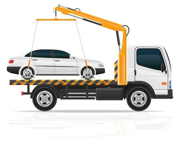 Camión de remolque para fallas de transporte y autos de emergencia, ilustración vectorial