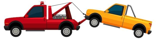 Camión de remolque tirando de coche amarillo sobre blanco