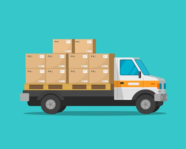 Camión de reparto con cajas de carga de paquetería o furgoneta de carga con paquetes