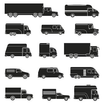 Camión de reparto monocromo set