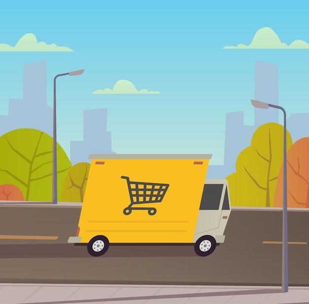 Camión de reparto con paisaje de la ciudad.