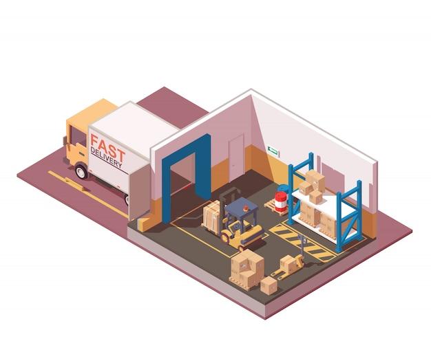 Camión de reparto, palets, cajas, montacargas y transpaletas. icono de almacenamiento y almacén.