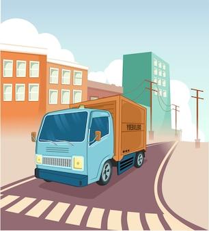 Camión de reparto de transporte de viaje en el pueblo de la ciudad