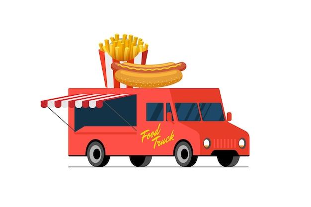 Camión rojo de comida rápida, hot dog y papas fritas en el techo de la camioneta, patatas fritas crujientes y pan con salchicha