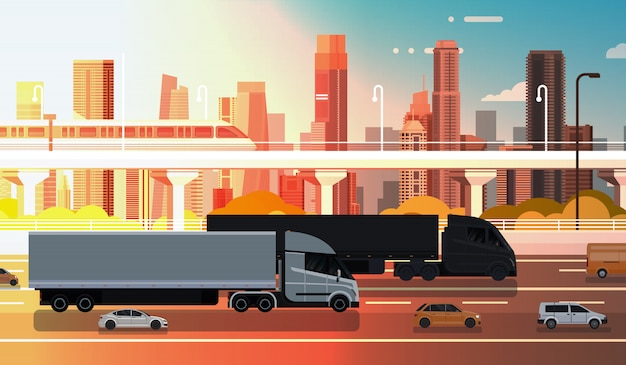 Camión semi grande con remolques carretera con autos y camiones sobre el envío de paisaje de la ciudad