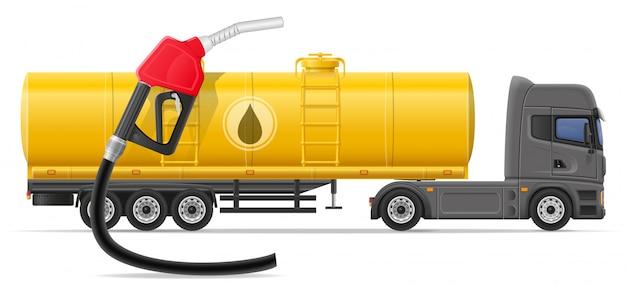 Camión semi remolque entrega y transporte de combustible para transporte concepto vector ilustración