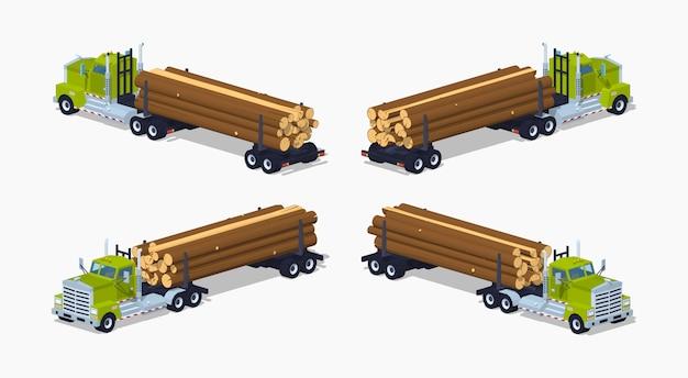 Camión de troncos isométricos 3d lowpoly con la pila de troncos