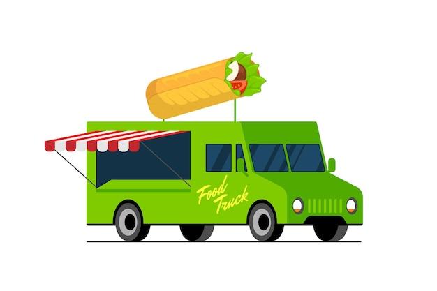 Camión verde de comida rápida doner kebab en el techo de la camioneta, servicio de entrega de automóviles de shawarma o festival en la calle
