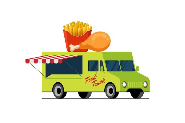 Camión verde de comida rápida pollo frito y papas fritas en el techo de la camioneta patatas crujientes y aves de corral asadas