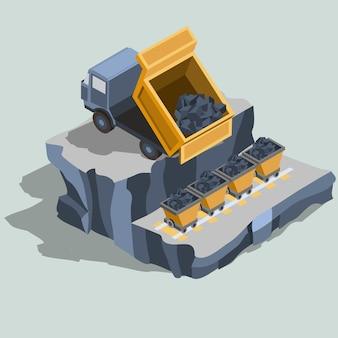 El camión volcado envía carbón en vector isométrico de los carros de carbón